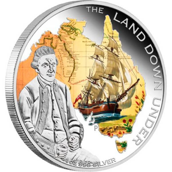 Captain James Cook  The Land Down Under  1 oz Proof Silver Coin 1$ Australia 2013