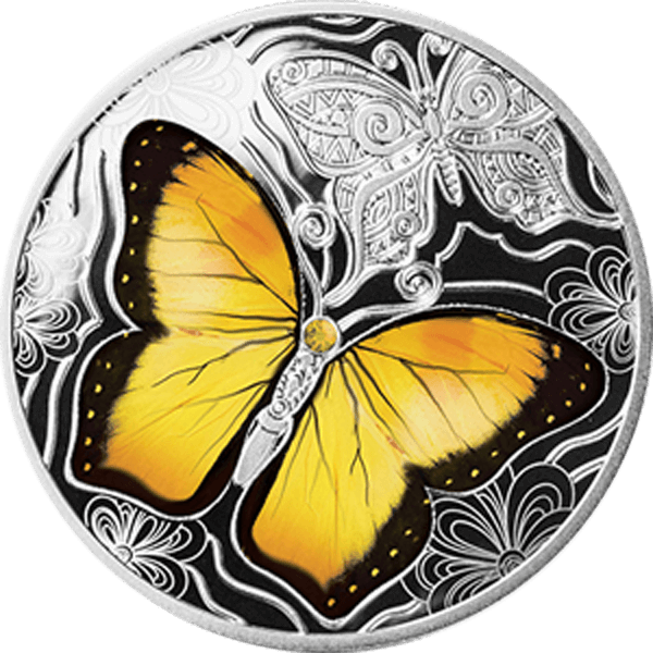 Yellow Butterfly Colourful World of Butterflies Proof Silver Coin 500 Francs CFA Cameroon 2020