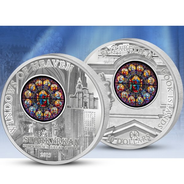 Cook Islands 2015 10$ Stockholm  Windows Of Heaven Proof-like Silver Coin