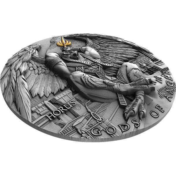 Horus Gods of Anger 2 oz Antique finish Silver Coin 5$ Niue 2020