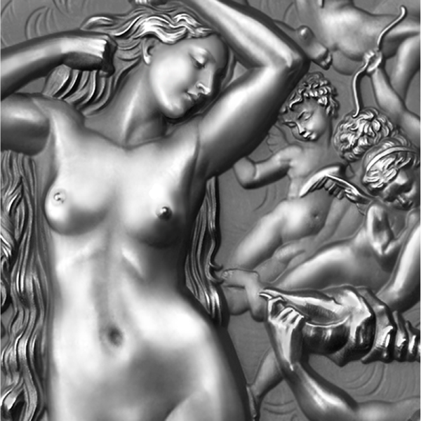 The Birth of Venus Celestial Beauty 2 oz Antique finish Silver Coin 2000 Francs Cameroon 2021