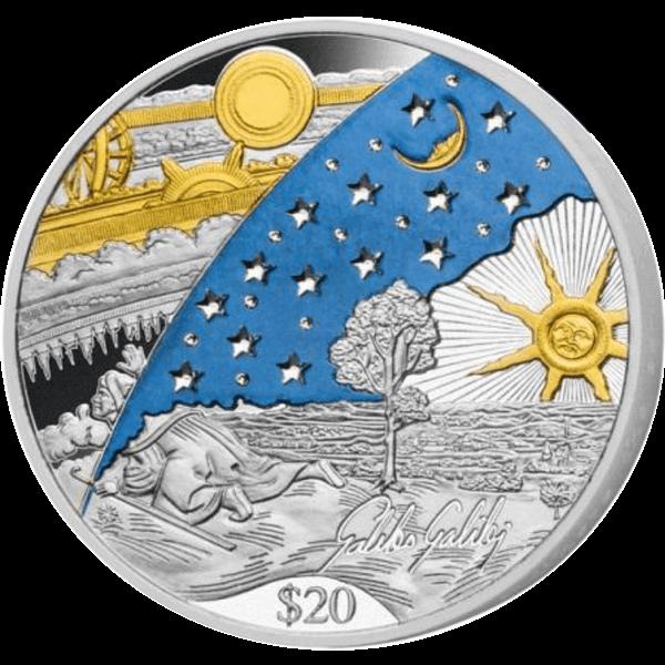 Fiji 2014 20$ 450th Anniversary of Galileo Galilei 1kg Kilo Proof Silver Coin with Swarovski Crystals