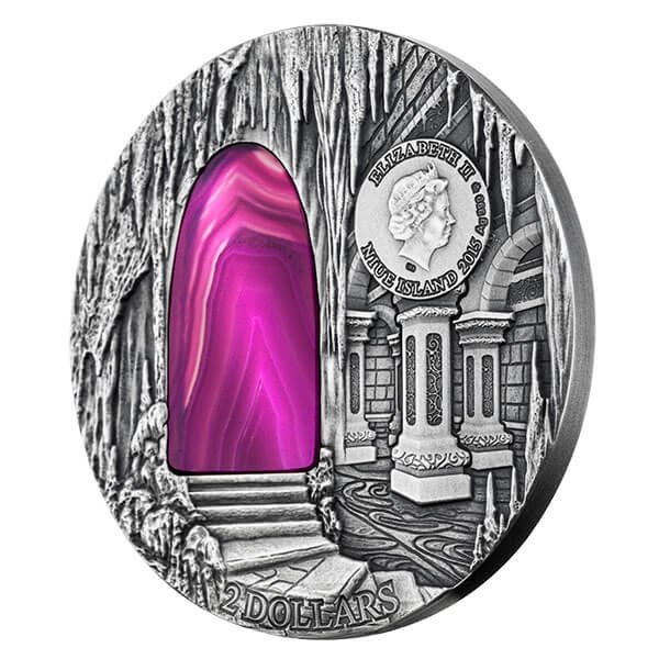 Niue 2015 2$ Mysteries of Hogwarts Crystal Art 2 oz Antique Finish Silver Coin