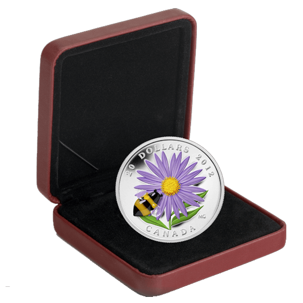 Aster with Venetian Glass Bumble Bee 2012 Proof Silver Coin 20$ Canada 2012