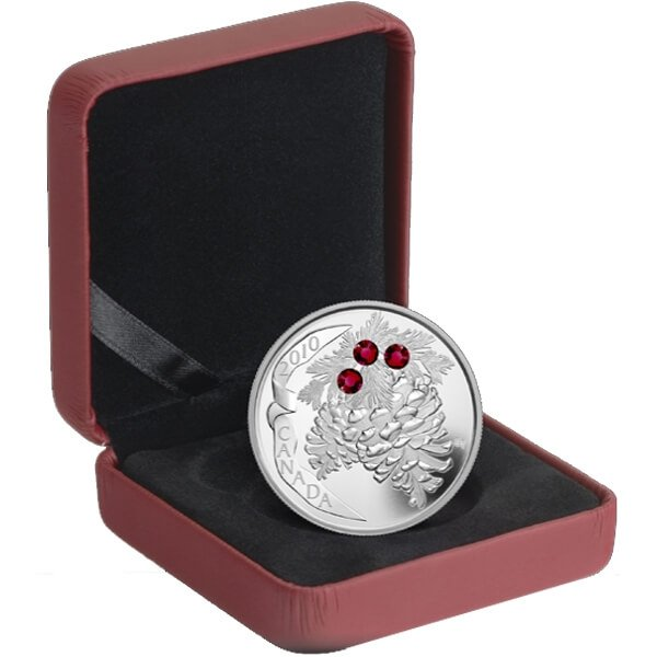 Canada 2010 20$ Ruby Holiday Pine Cones (2010) Proof Silver Coin
