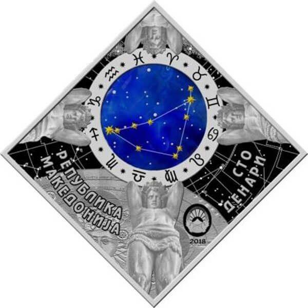 Capricorn Zodiac signs 2018 Proof Silver Coin 100 Denars Macedonia 2018