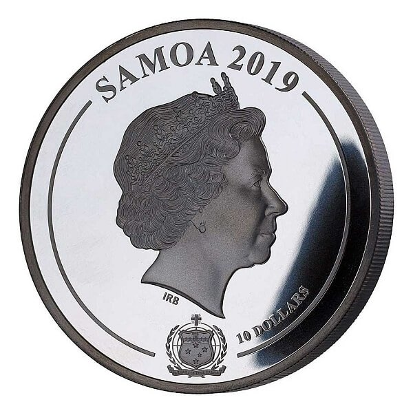 Grace Kelly Shadow Minting 5 oz Black Proof Silver Coin 10$ Samoa 2019