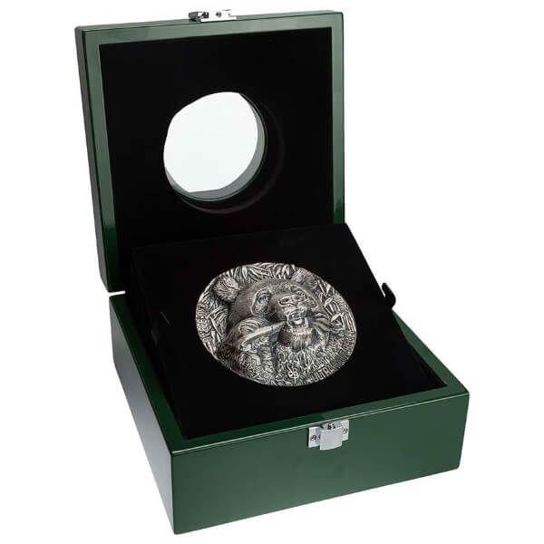 Panda Haut-Relief 1 Kilo Antique finish Silver Coin 10000 francs Ivory Coast 2020