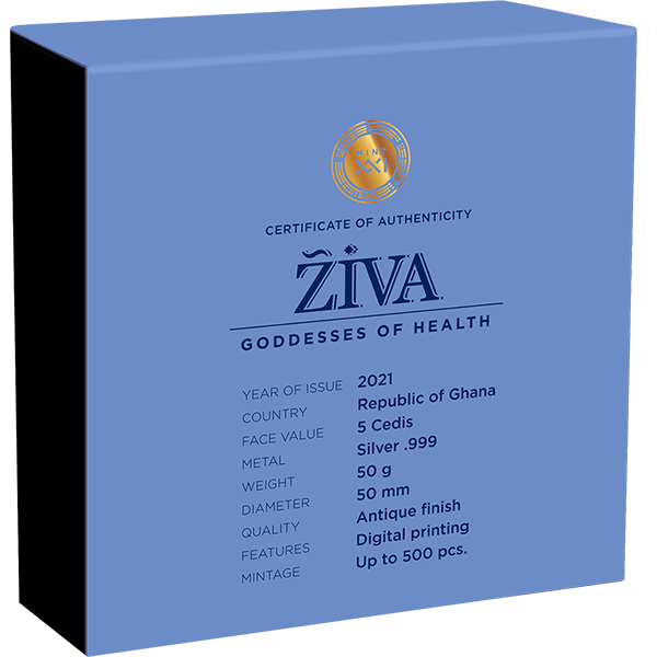Ziva Goddesses of Health 50 g Antique finish Silver Coin 5 Cedis Republic of Ghana 2021
