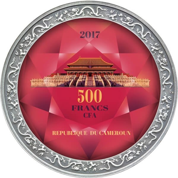Magnificent Palace Of Beijing Forbidden City Antique Finish Silver Coin 500 Francs Cameroon 2017