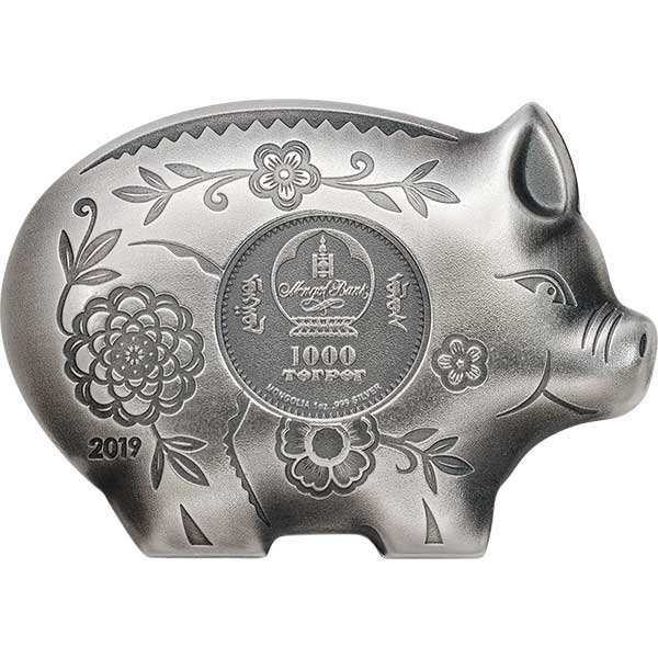 Jolly Silver Pig Lunar Year Collection Antique finish Silver Coin 1000 togrog Mongolia 2019