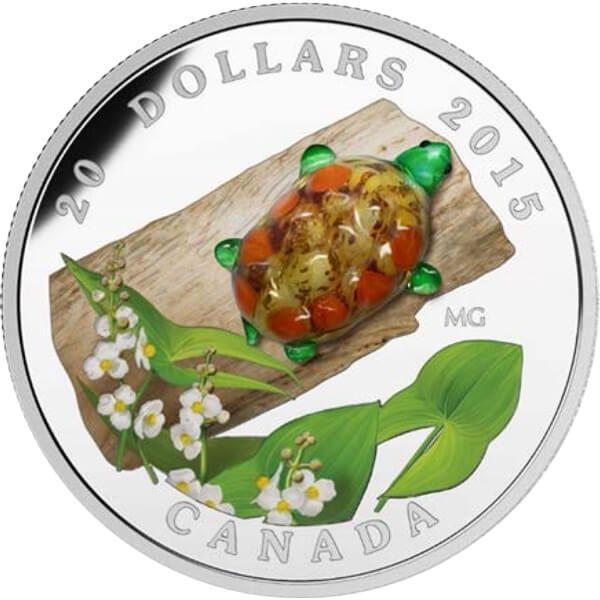 Canada 2015 20$ Broadleaf Arrowhead Flower with Venetian Glass Turtle (2015) Proof Silver Coin
