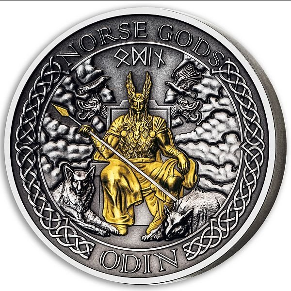 Odin The Norse Gods 2 oz Antique finish Silver Coin 1$ Cook Islands 2021