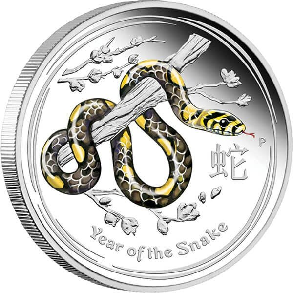 Australia 2013 50 cents Year Of The Snake 1/2oz Proof Silver Coin Colored Coin