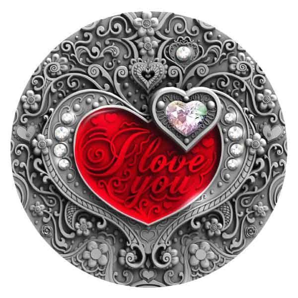 I Love You 2oz Antique finish Silver Coin 2$ Niue 2020