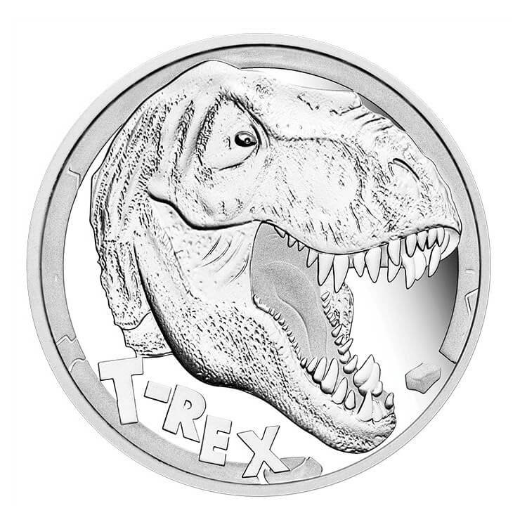 Tuvalu 2017 5$ Tyrannosaurus Rex 5 oz Proof Silver Coin