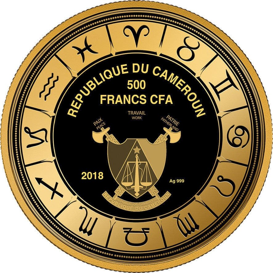 Cancer Zodiac Sign Proof Silver Coin 500 Francs Cameroon 2018