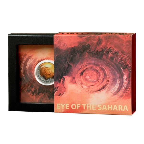 Niue 2016 2$ Eye of the Sahara In the Circle of Secret 1 oz Antique Finish Silver Coin