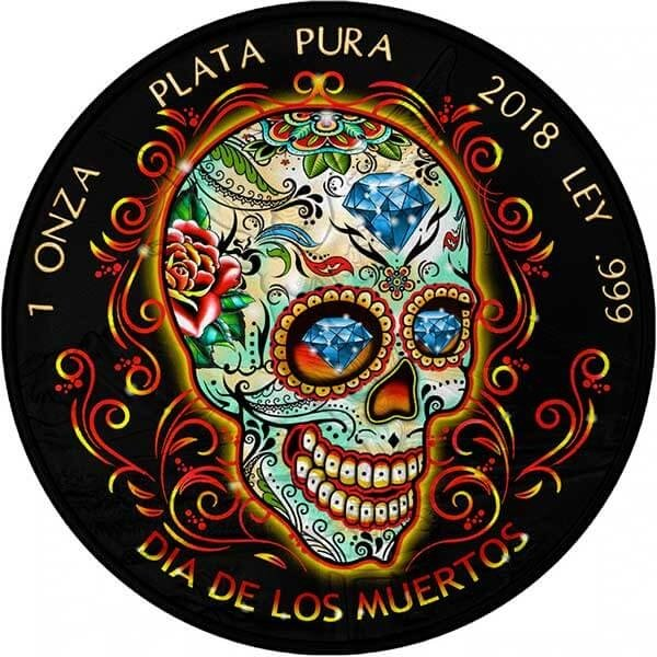 Dia De Los Muertos Day of the Dead Libertad 1 oz BU Siver Coin 1 Onza Mexico 2018
