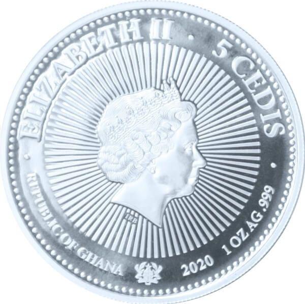 Gemstone Selection The Jewel Coin 1 oz BU Silver Coin 5 Cedis Republic of Ghana 2020