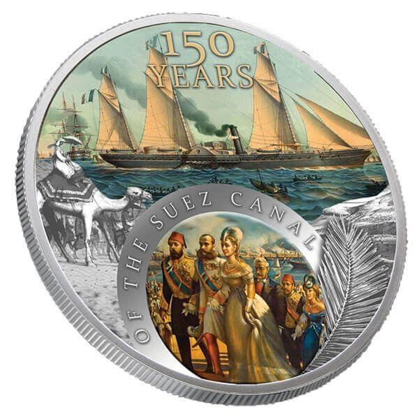 150th Years of the Suez Channel 1 oz Proof Silver Coin 1$ Niue 2019
