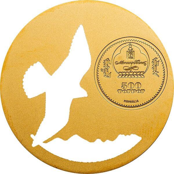 Mongolia 2015 500 togrog Mongolian Nature 2015 -  Falco cherrug BU Silver Coin