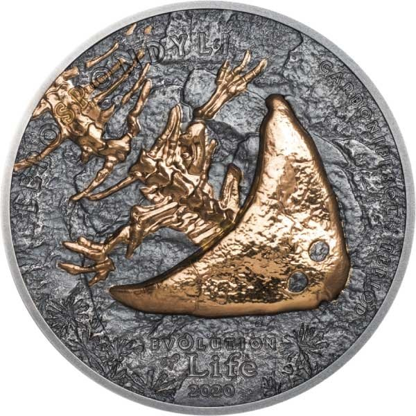 Diplocaulus Evolution of Life 2020 1 oz Antique finish Silver Coin 500 togrog Mongolia 2020