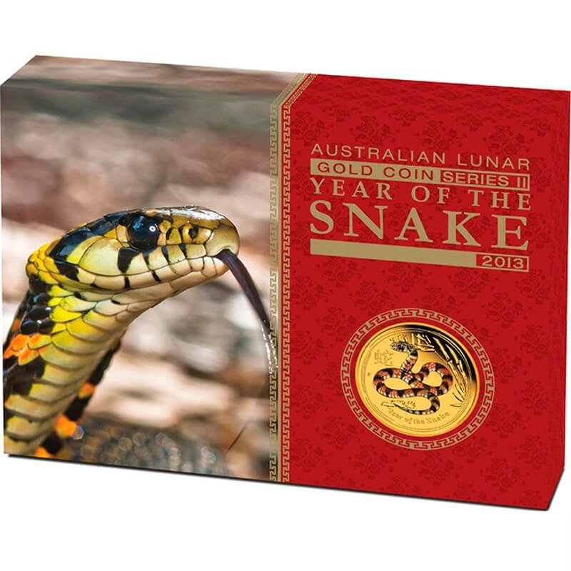 Year Of The Snake 1/10oz Proof Gold Coin Colored Edition 15 dollars Australia 2013
