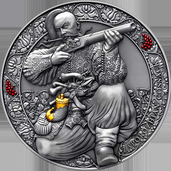 Zaporozhian Cossack Legendary Warriors 3 oz Antique finish Silver Coin 3000 Francs CFA Cameroon 2021