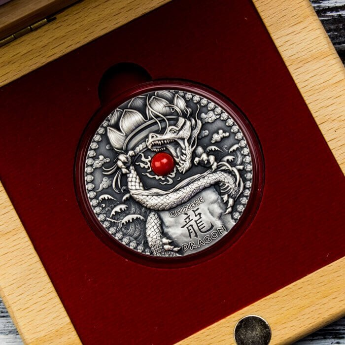 Chinese Dragon Dragons 2 oz Antique Finish Silver Coin 2$ Niue 2018