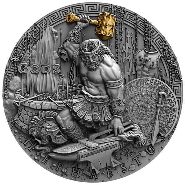 Hephaestus Gods 2oz Antique finish Silver Coin 2$ Niue 2019
