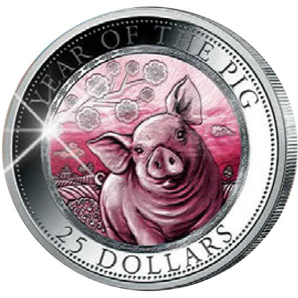 Year of the Pig Mother of Pearl 5 oz Proof Silver Coin 25$ Cook Islands 2019