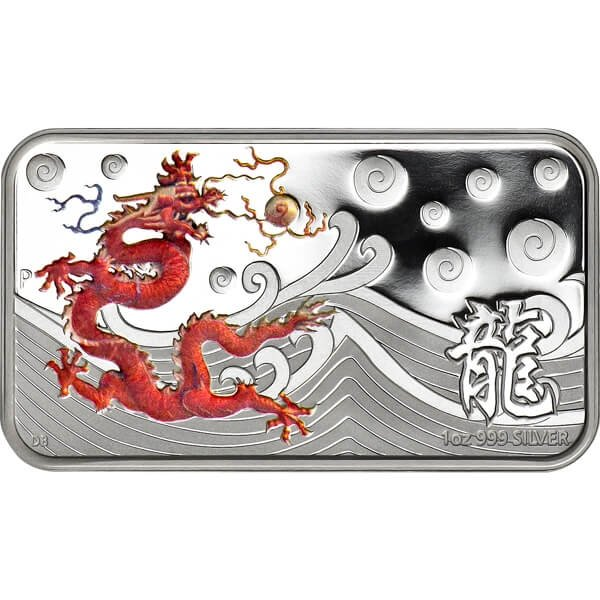 Year of the Dragon Rectangle - Red Proof Silver Coin 1$ Cook Islands 2012