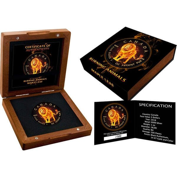 Burning Lion Burning Animal Maple Leaf 1oz Black Ruthenium BU Silver Coin 5$ Canada 2018