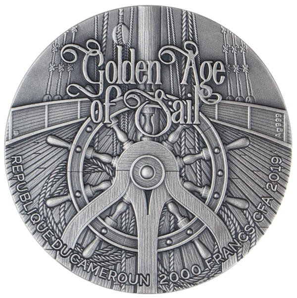 HMS Bounty Golden Age of Sail 2 oz Antique finish Silver Coin 2000 Francs CFA Cameroon 2019