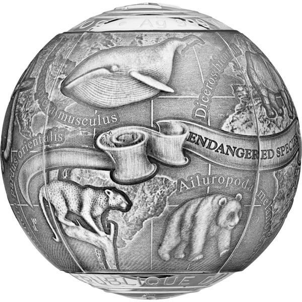 Cameroon 2017 5000 Francs SOS To The World – Endangered Animal Species 7 oz Proof 3D Silver Coin