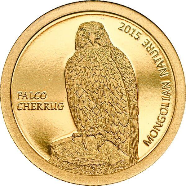 Mongolia 2015 500 togrog Mongolian Nature 2015 -  Falco cherrug 0.5 g Proof Gold Coin