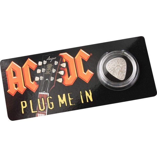 Guitar Pick Plug me in AC/DC 1/4 oz Proof Silver Coin 2$ Cook Islands 2019