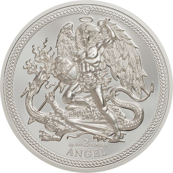 1 Angel Piedfort 2 oz Proof Silver coin Isle of Man 2017