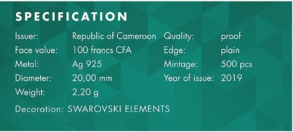 Elephant Small Treasures Proof Silver Coin 100 Francs CFA Cameroon 2019