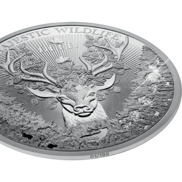 The Deer Majestic Wildlife 1 Kilo Proof-like Silver Coin 25$ Samoa 2020