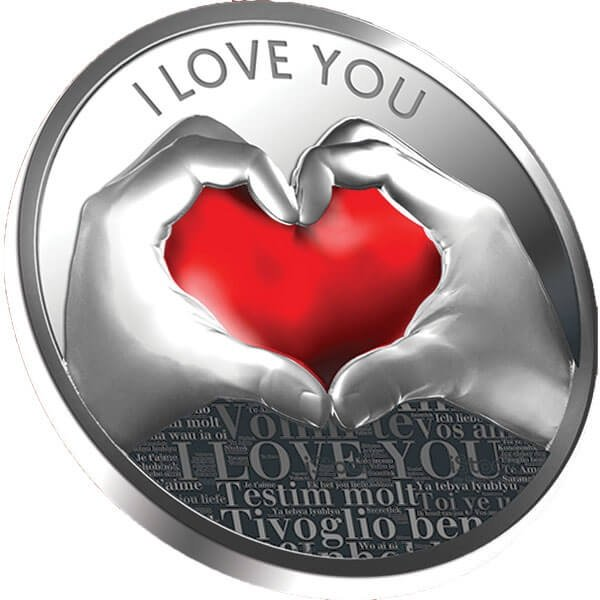 I Love You Silver Coin 500 Francs CFA Cameroon 2019