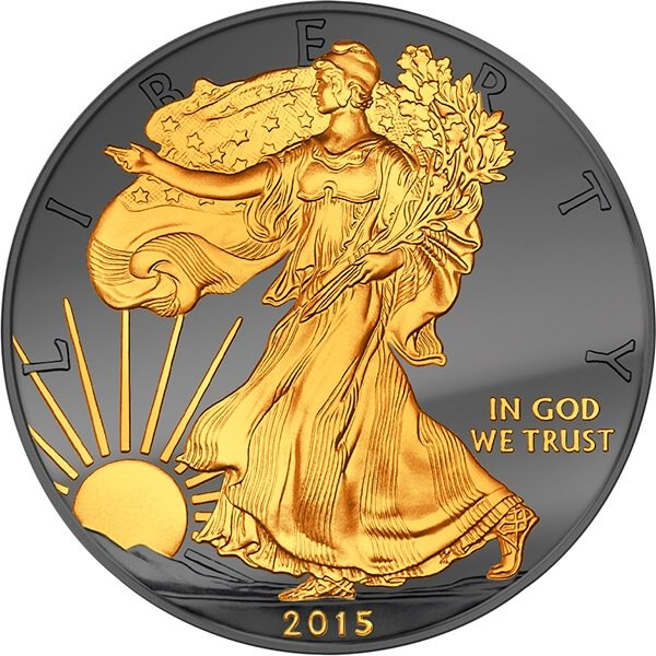 United States 2015 1$ Walking Liberty Golden Enigma Edition 2015  BU Silver Coin