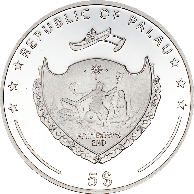 Palau 2013 5$ Light Blue Freshwater Pearl 2013 Secrets of the Sea Proof Silver Coin