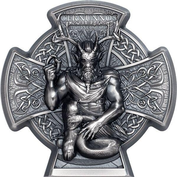 Cernunnos Horned God 3 oz Antique finish Silver Coin 5 pounds Isle of Man 2021