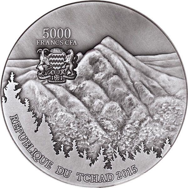 Sikhote-Alin Meteorite Meteorite Art 5 oz Antique finish Silver Coin 5000 Francs CFA Republic of Chad 2015