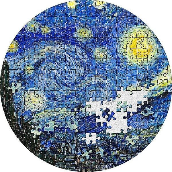 Micropuzzle Treasures Starry Night - Van Gogh 3oz Proof Silver Coin 20$ Palau 2019