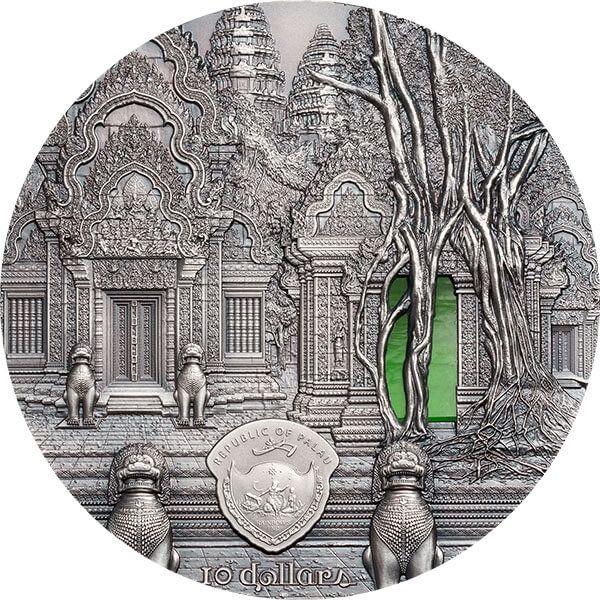 Khmer Tiffany Art 2 oz Antique finish Silver Coin 10$ Palau 2019