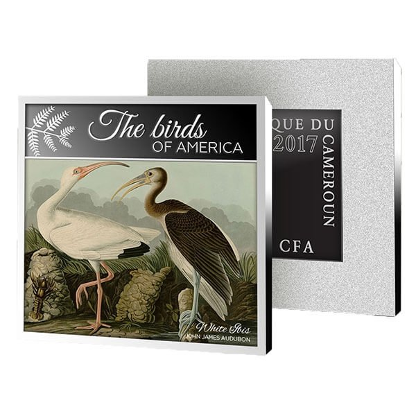 American White Ibis American Flamingo Proof Silver Coin 500 Francs Cameroon 2017