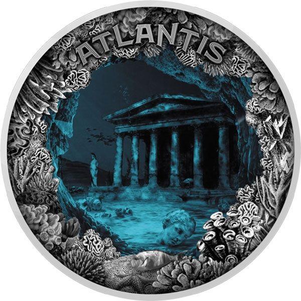 Atlantis - The Sunken City 2 oz Antique finish Silver Coin 5$ Niue 2019
